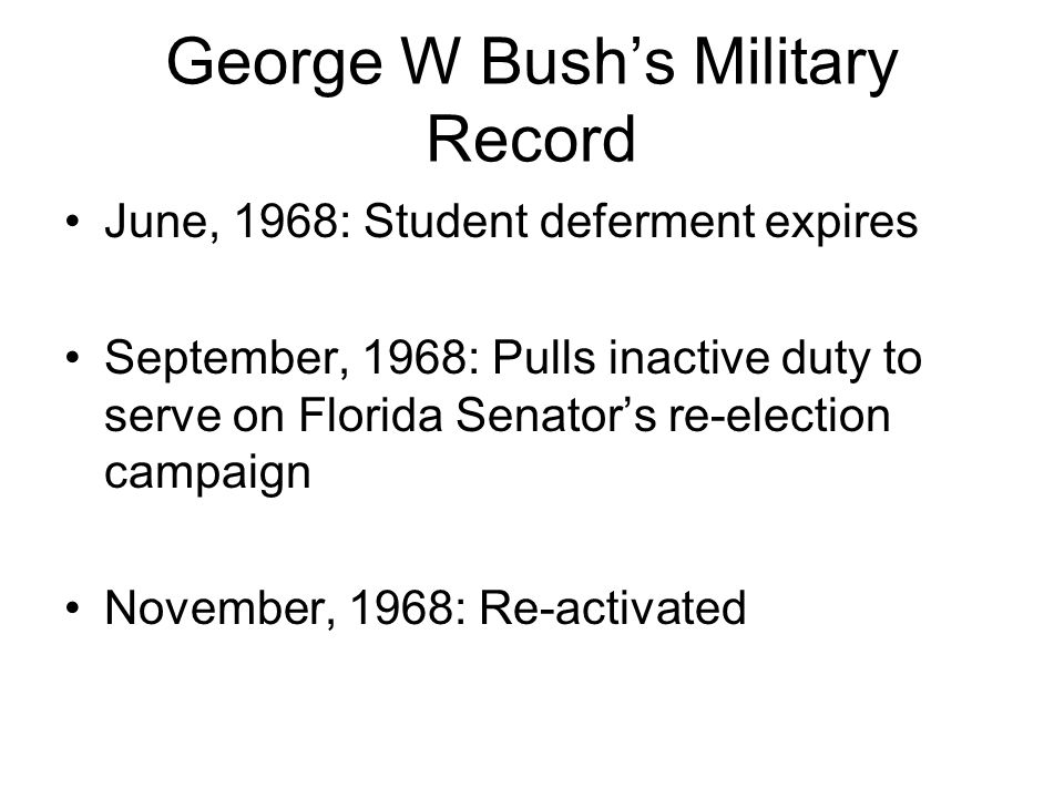 George W Bush's Military Record November, 1970: Promoted to First Lieutenant, rejected by UT Law School Spring, 1970: Hired by Texas agricultural importer to shuttle plants to/from Florida June, 1970: Joins Guard's Champagne Unit, flying with sons of Texas' elite