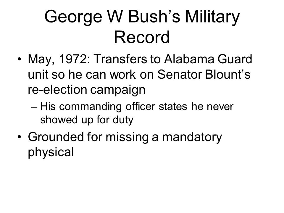 George W Bush's Military Record Returns to Houston but never reports for Guard duty December, 1972: DUI arrest October, 1973: Air National Guard relieves him from commitment 8 months early, allowing him to attend Harvard Business School