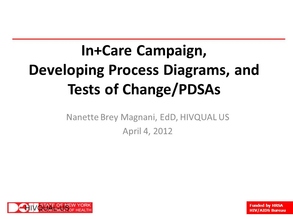 1 HIVQUAL-US Funded by HRSA HIV/AIDS Bureau HIVQUAL-US In+Care Campaign, Developing Process Diagrams, and Tests of Change/PDSAs Nanette Brey Magnani, EdD, HIVQUAL US April 4, 2012