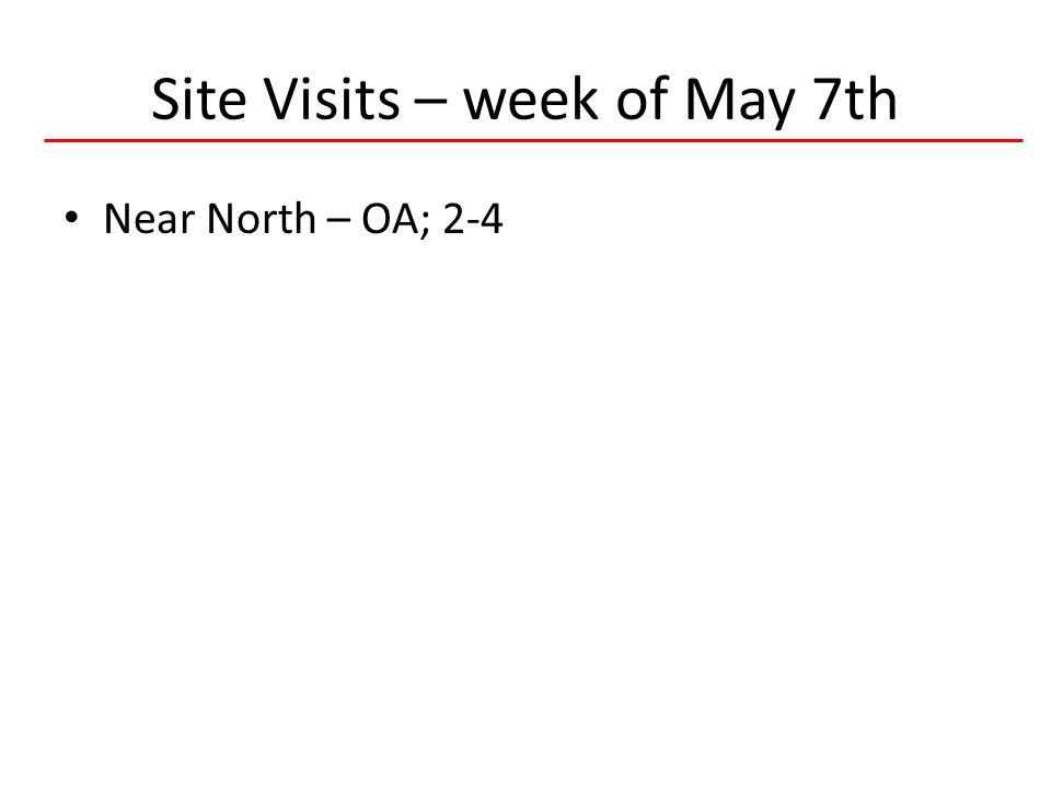 6 HIVQUAL-US Site Visits – week of May 7th Near North – OA; 2-4
