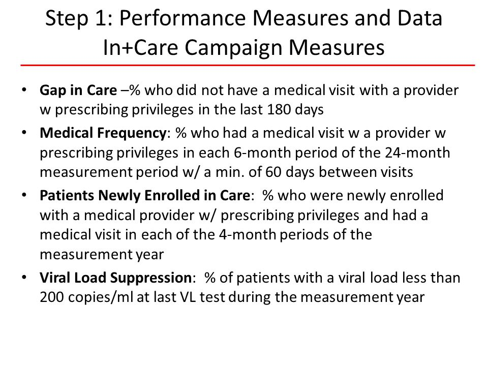 8 HIVQUAL-US Step 1: Performance Measures and Data In+Care Campaign Measures Gap in Care –% who did not have a medical visit with a provider w prescribing privileges in the last 180 days Medical Frequency: % who had a medical visit w a provider w prescribing privileges in each 6-month period of the 24-month measurement period w/ a min.