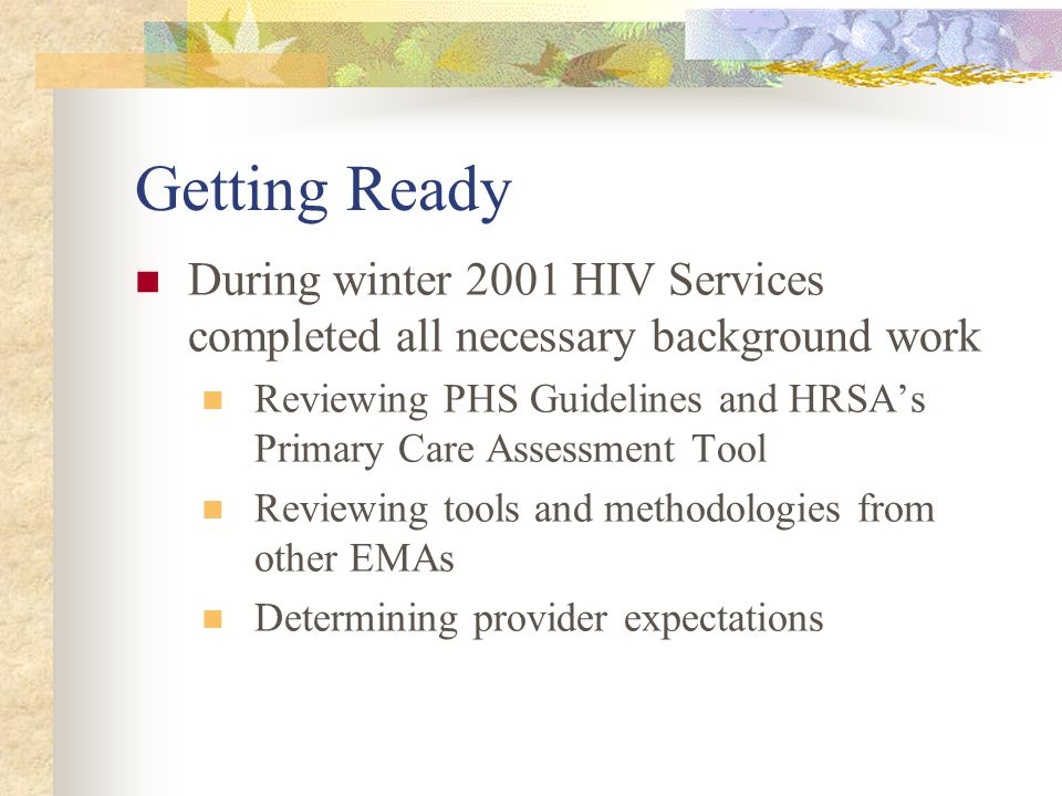 Getting Ready During winter 2001 HIV Services completed all necessary background work Reviewing PHS Guidelines and HRSA's Primary Care Assessment Tool Reviewing tools and methodologies from other EMAs Determining provider expectations