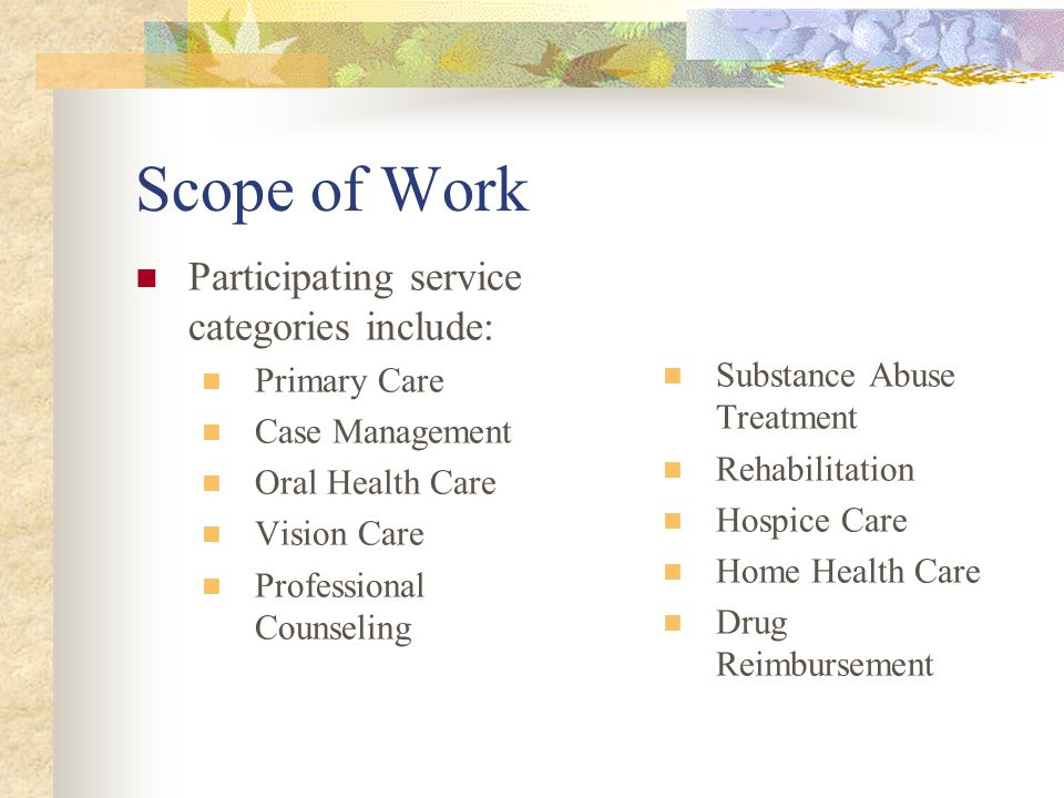 Scope of Work Participating service categories include: Primary Care Case Management Oral Health Care Vision Care Professional Counseling Substance Abuse Treatment Rehabilitation Hospice Care Home Health Care Drug Reimbursement