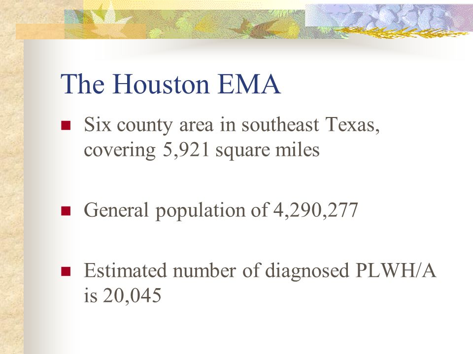 The Houston EMA Six county area in southeast Texas, covering 5,921 square miles General population of 4,290,277 Estimated number of diagnosed PLWH/A is 20,045