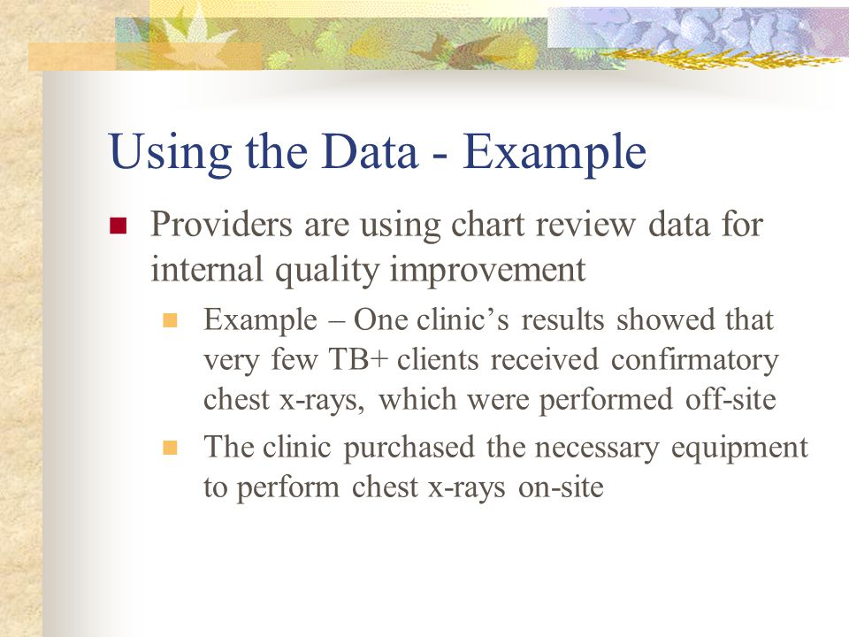 Using the Data - Example Providers are using chart review data for internal quality improvement Example – One clinic's results showed that very few TB+ clients received confirmatory chest x-rays, which were performed off-site The clinic purchased the necessary equipment to perform chest x-rays on-site
