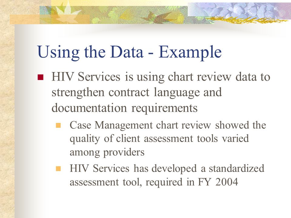 Using the Data - Example HIV Services is using chart review data to strengthen contract language and documentation requirements Case Management chart review showed the quality of client assessment tools varied among providers HIV Services has developed a standardized assessment tool, required in FY 2004