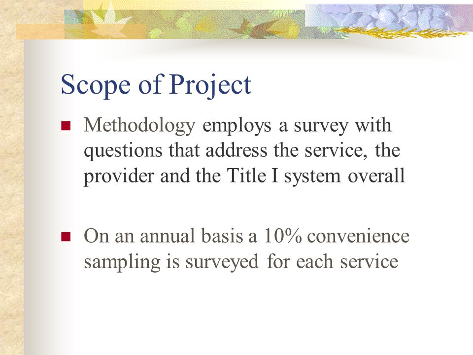 Scope of Project Methodology employs a survey with questions that address the service, the provider and the Title I system overall On an annual basis a 10% convenience sampling is surveyed for each service