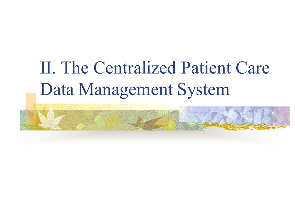 II. The Centralized Patient Care Data Management System