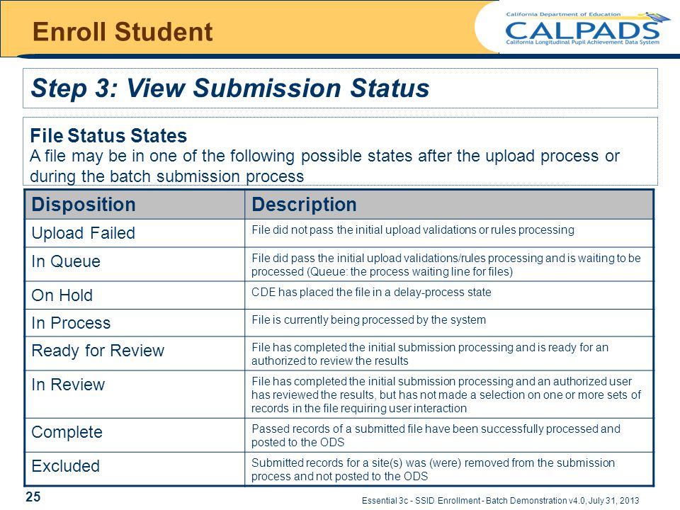 Essential 3c - SSID Enrollment - Batch Demonstration v4.0, July 31, 2013 Enroll Student Step 3: View Submission Status File Status States DispositionDescription Upload Failed File did not pass the initial upload validations or rules processing In Queue File did pass the initial upload validations/rules processing and is waiting to be processed (Queue: the process waiting line for files) On Hold CDE has placed the file in a delay-process state In Process File is currently being processed by the system Ready for Review File has completed the initial submission processing and is ready for an authorized to review the results In Review File has completed the initial submission processing and an authorized user has reviewed the results, but has not made a selection on one or more sets of records in the file requiring user interaction Complete Passed records of a submitted file have been successfully processed and posted to the ODS Excluded Submitted records for a site(s) was (were) removed from the submission process and not posted to the ODS A file may be in one of the following possible states after the upload process or during the batch submission process 25
