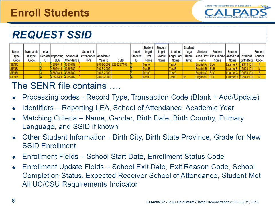 Essential 3c - SSID Enrollment - Batch Demonstration v4.0, July 31, 2013 Enroll Students REQUEST SSID The SENR file contains ….