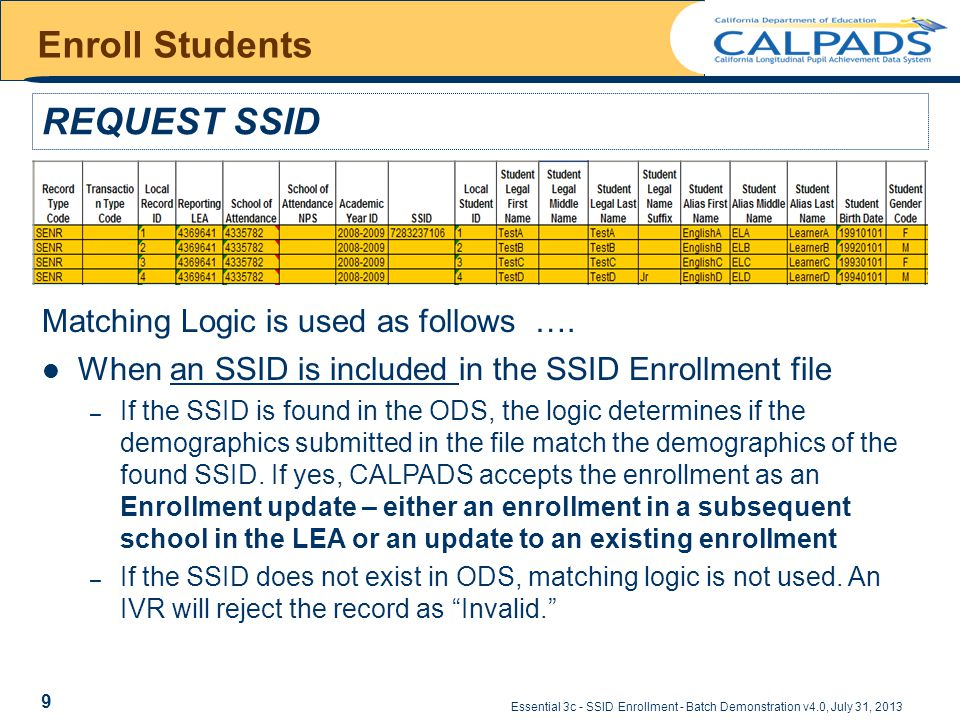 Essential 3c - SSID Enrollment - Batch Demonstration v4.0, July 31, 2013 Enroll Students REQUEST SSID Matching Logic is used as follows ….