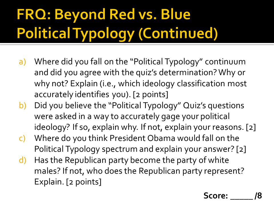 "a)Where did you fall on the ""Political Typology"" continuum and did you agree with the quiz's determination? Why or why not? Explain (i.e., which ideol"