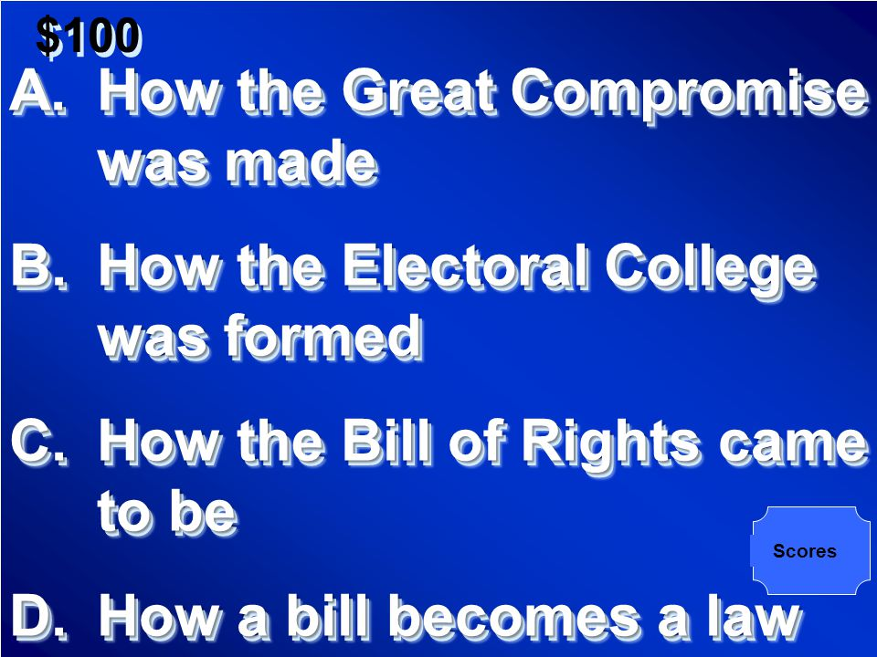 $100 By implementing the Great Compromise with a bicameral legislature