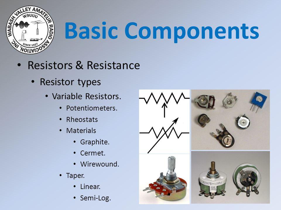 Resistors & Resistance Resistor types Variable Resistors. Potentiometers. Rheostats Materials Graphite. Cermet. Wirewound. Taper. Linear. Semi-Log. Ba