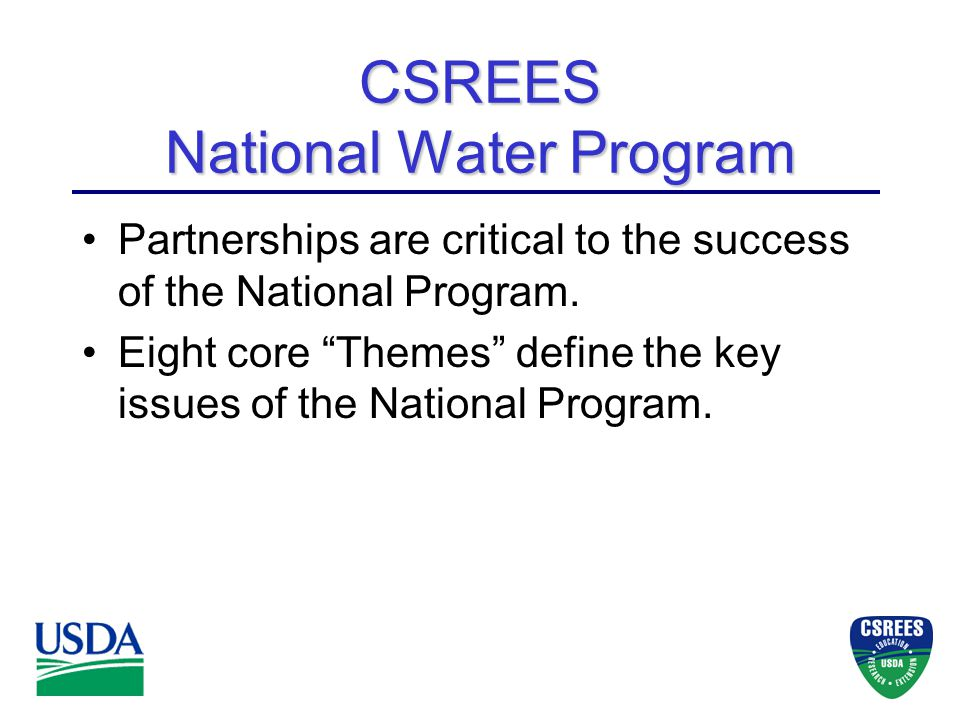 Partnerships are critical to the success of the National Program.