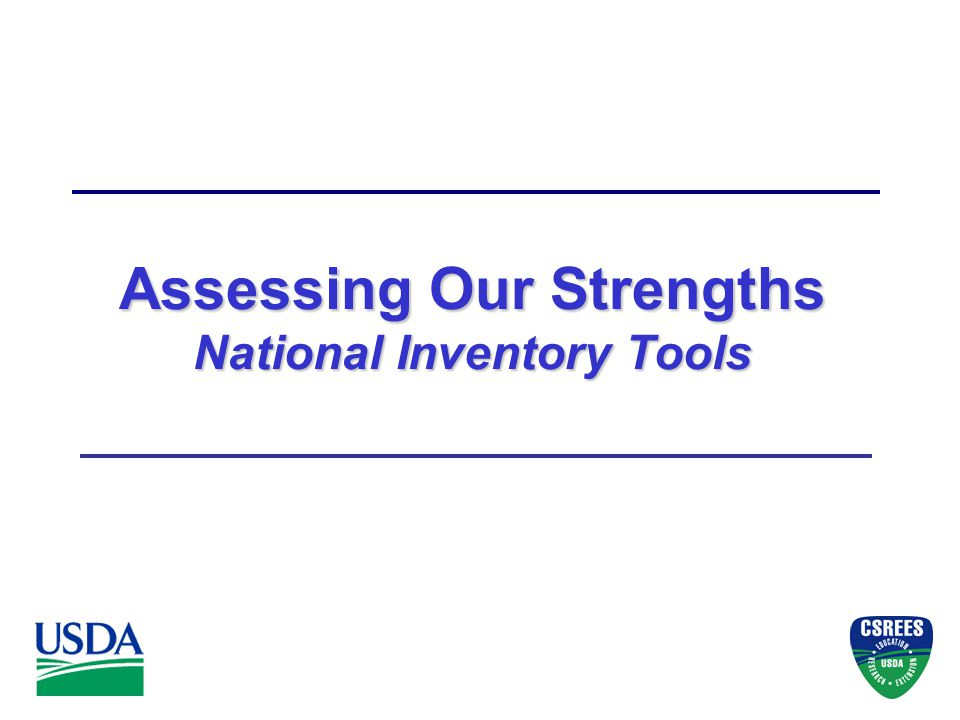 Assessing Our Strengths National Inventory Tools