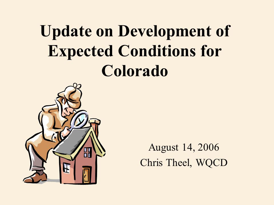 Update on Development of Expected Conditions for Colorado August 14, 2006 Chris Theel, WQCD