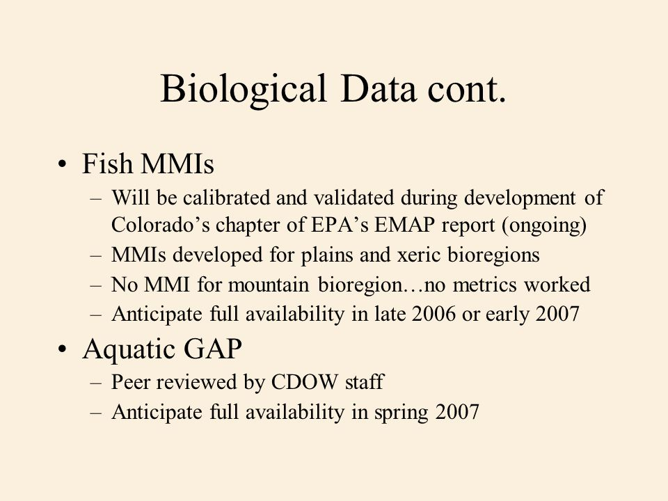Biological Data cont.