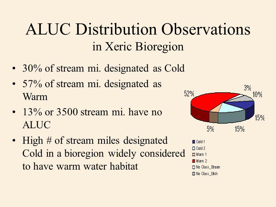 ALUC Distribution Observations in Xeric Bioregion 30% of stream mi. designated as Cold 57% of stream mi. designated as Warm 13% or 3500 stream mi. hav
