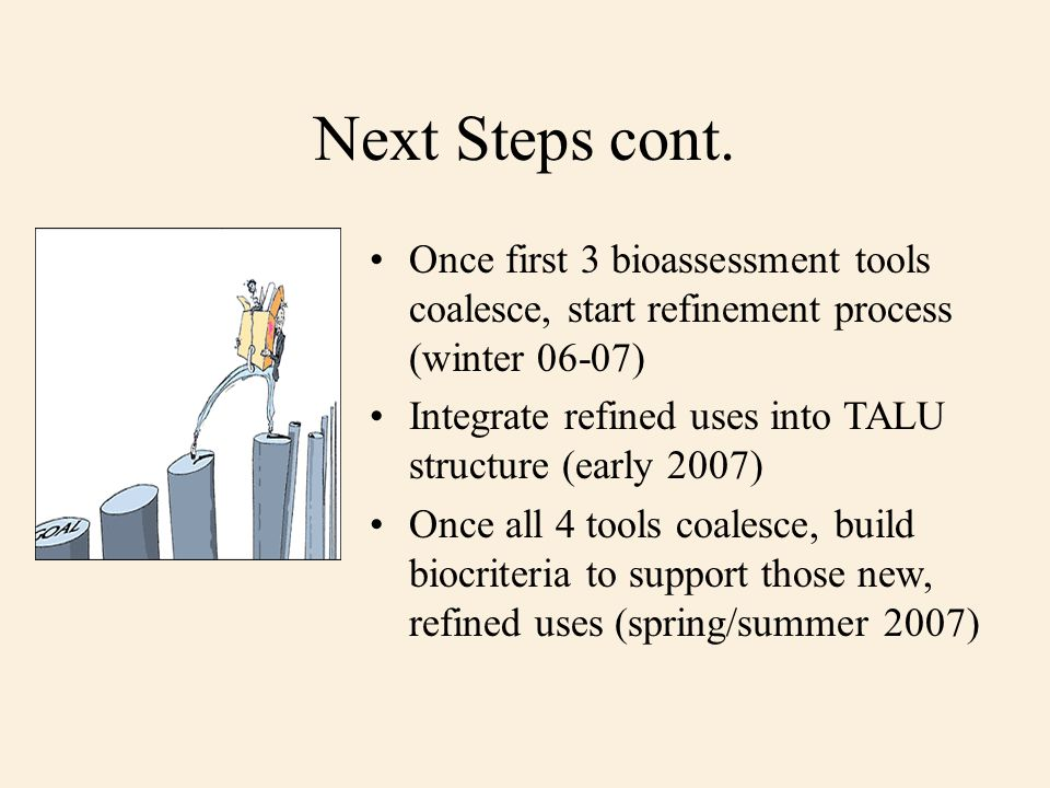 Next Steps cont. Once first 3 bioassessment tools coalesce, start refinement process (winter 06-07) Integrate refined uses into TALU structure (early