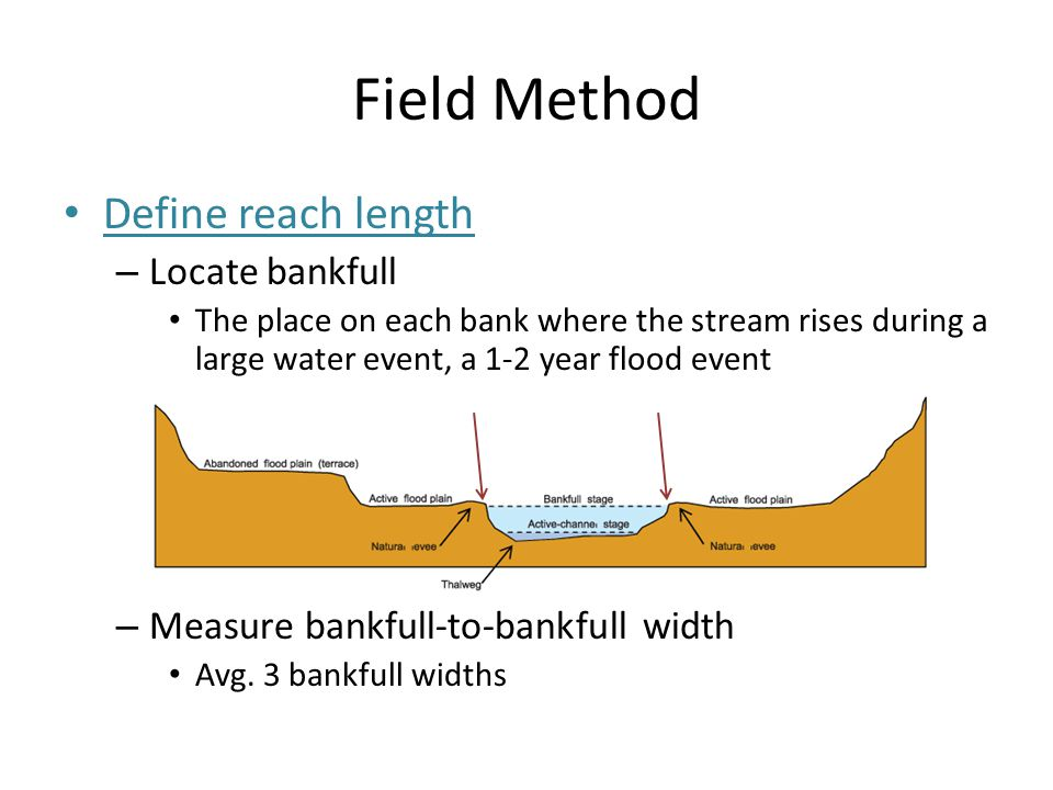 Field Method Define reach length – Locate bankfull The place on each bank where the stream rises during a large water event, a 1-2 year flood event –