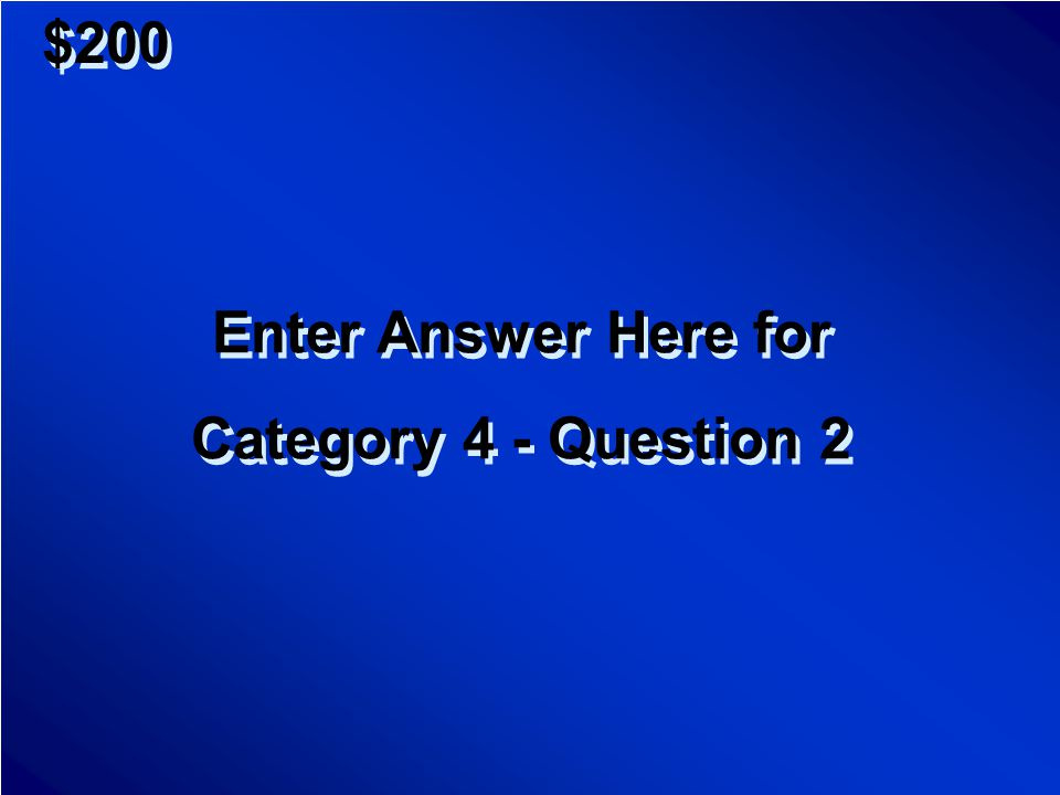 $100 Enter Question Here for Category 4 - Question 1 Enter Question Here for Category 4 - Question 1 Scores