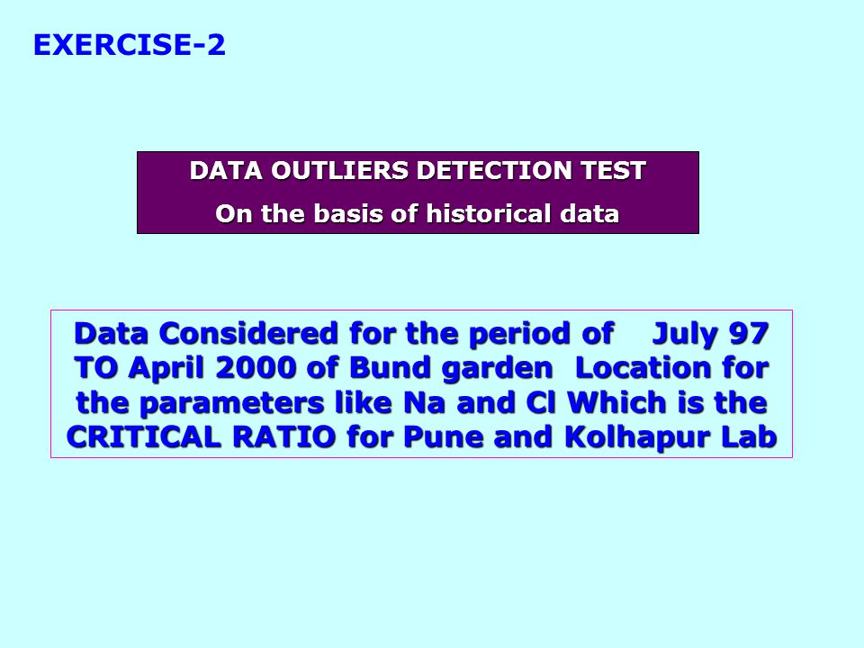 Data Considered for the period of July 97 TO April 2000 of Bund garden Location for the parameters like Na and Cl Which is the CRITICAL RATIO for Pune and Kolhapur Lab DATA OUTLIERS DETECTION TEST On the basis of historical data EXERCISE-2