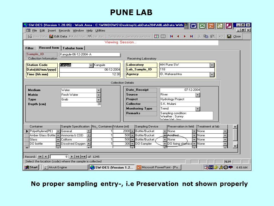 PUNE LAB No proper sampling entry-, i.e Preservation not shown properly