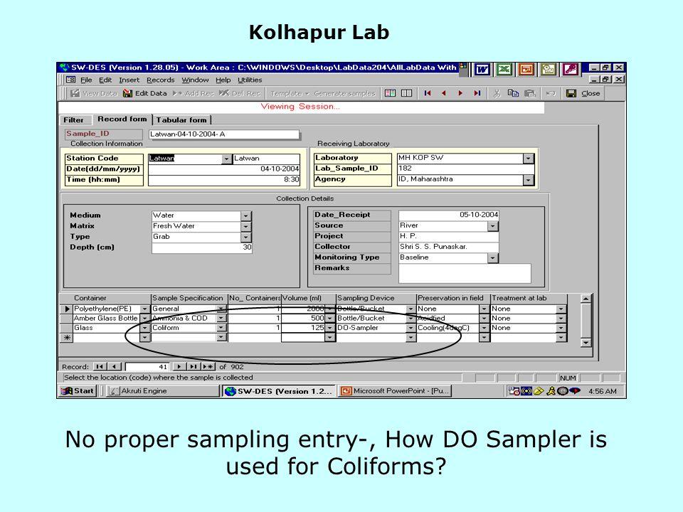Kolhapur Lab No proper sampling entry-, How DO Sampler is used for Coliforms