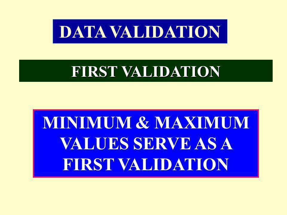 MINIMUM & MAXIMUM VALUES SERVE AS A FIRST VALIDATION DATA VALIDATION FIRST VALIDATION