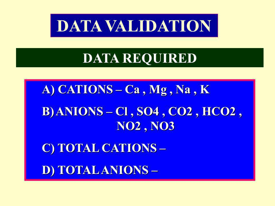 A) CATIONS – Ca, Mg, Na, K B)ANIONS – Cl, SO4, CO2, HCO2, NO2, NO3 C) TOTAL CATIONS – D) TOTAL ANIONS – DATA VALIDATION DATA REQUIRED