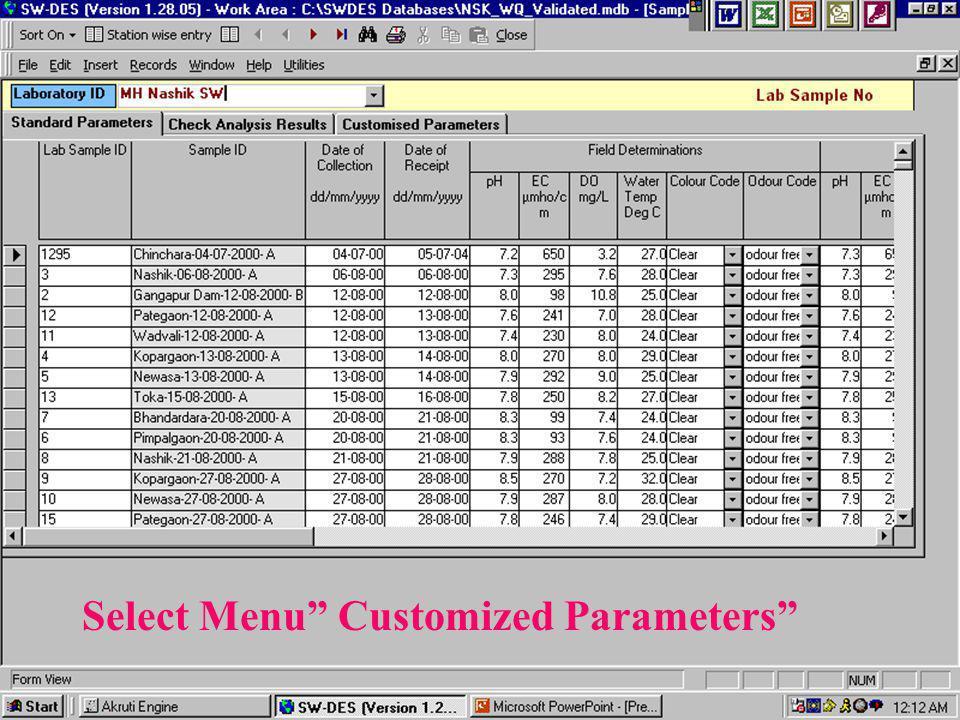 Select Menu Customized Parameters