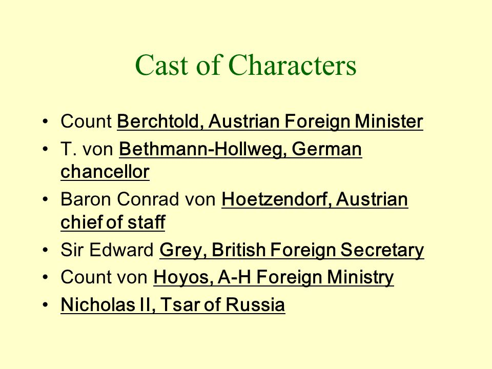 Cast of Characters Count Berchtold, Austrian Foreign Minister T.