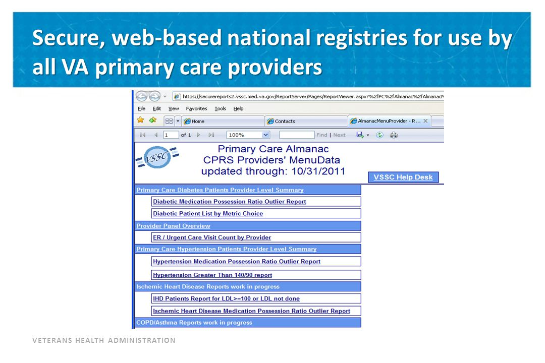 VETERANS HEALTH ADMINISTRATION Secure, web-based national registries for use by all VA primary care providers