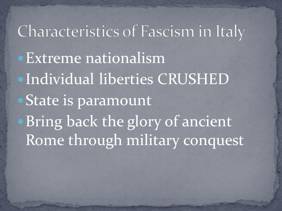 At first Mussolini received praise from European countries, they soon regret this praise. Had plans to form a new Roman Empire. October 1935—invades E