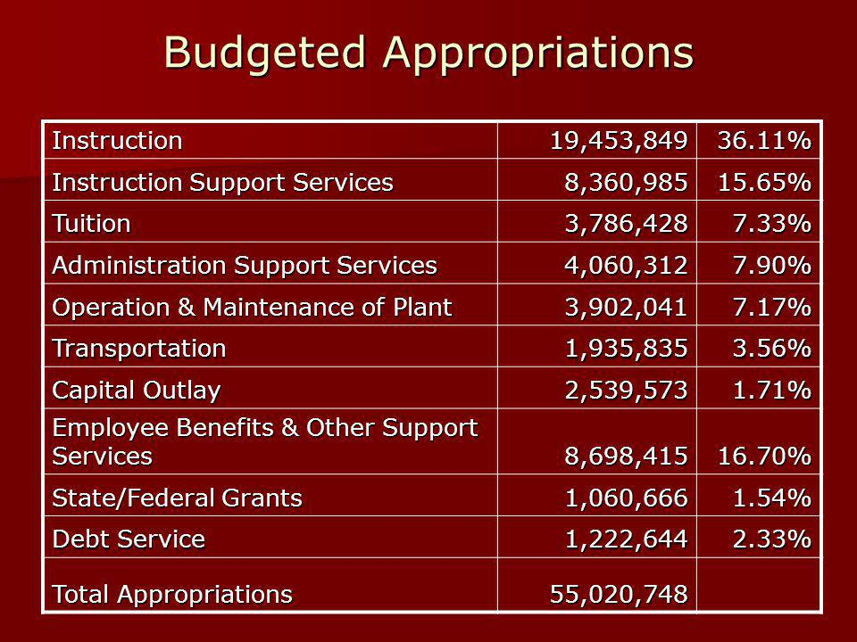 Budgeted Appropriations Instruction19,453,84936.11% Instruction Support Services 8,360,98515.65% Tuition3,786,4287.33% Administration Support Services 4,060,3127.90% Operation & Maintenance of Plant 3,902,0417.17% Transportation1,935,8353.56% Capital Outlay 2,539,5731.71% Employee Benefits & Other Support Services 8,698,41516.70% State/Federal Grants 1,060,6661.54% Debt Service 1,222,6442.33% Total Appropriations 55,020,748
