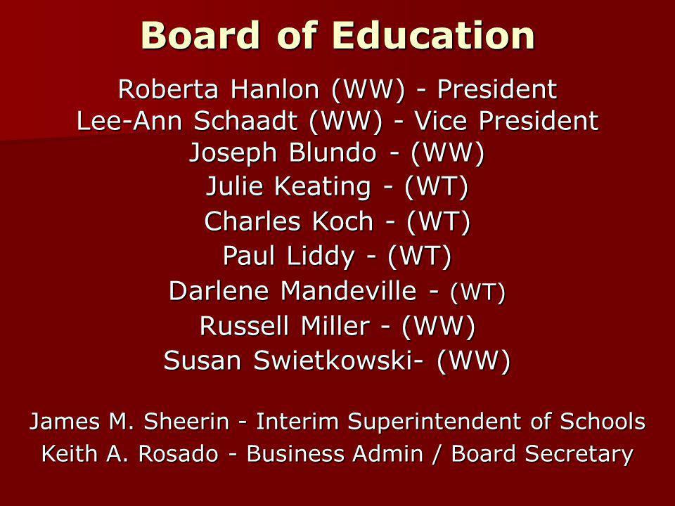 Board of Education Roberta Hanlon (WW) - President Lee-Ann Schaadt (WW) - Vice President Joseph Blundo - (WW) Julie Keating - (WT) Charles Koch - (WT) Paul Liddy - (WT) Darlene Mandeville - (WT) Russell Miller - (WW) Susan Swietkowski- (WW) James M.