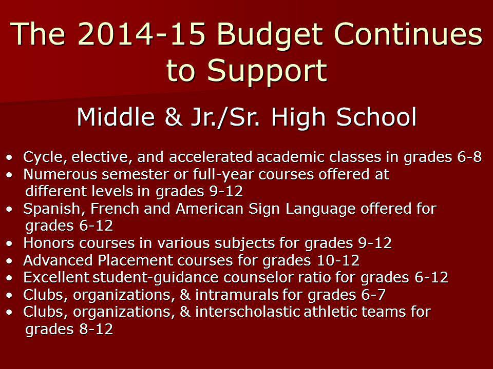 The 2014-15 Budget Continues to Support Middle & Jr./Sr.
