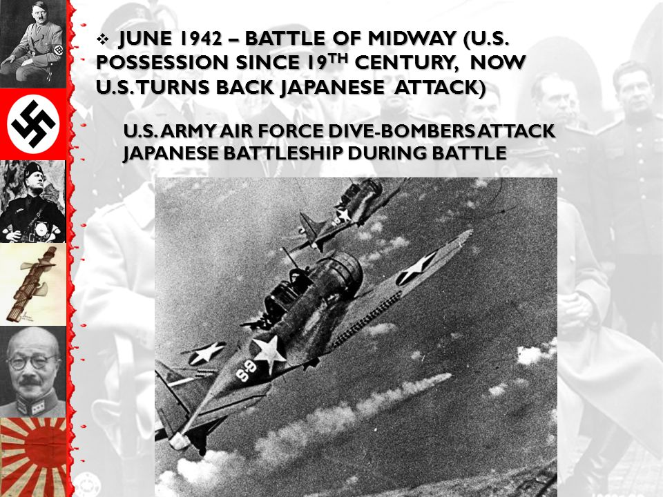 JUNE 1942 – BATTLE OF MIDWAY (U.S. POSSESSION SINCE 19 TH CENTURY, NOW U.S.