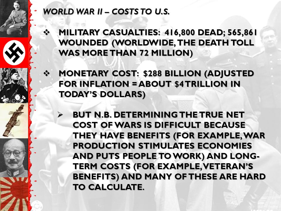 WORLD WAR II – COSTS TO U.S.  MILITARY CASUALTIES: 416,800 DEAD; 565,861 WOUNDED (WORLDWIDE, THE DEATH TOLL WAS MORE THAN 72 MILLION)  MONETARY COST