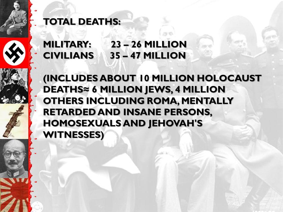TOTAL DEATHS: MILITARY: 23 – 26 MILLION CIVILIANS 35 – 47 MILLION (INCLUDES ABOUT 10 MILLION HOLOCAUST DEATHS ≈ 6 MILLION JEWS, 4 MILLION OTHERS INCLU