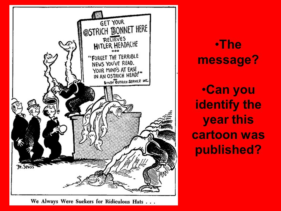 The message Can you identify the year this cartoon was published