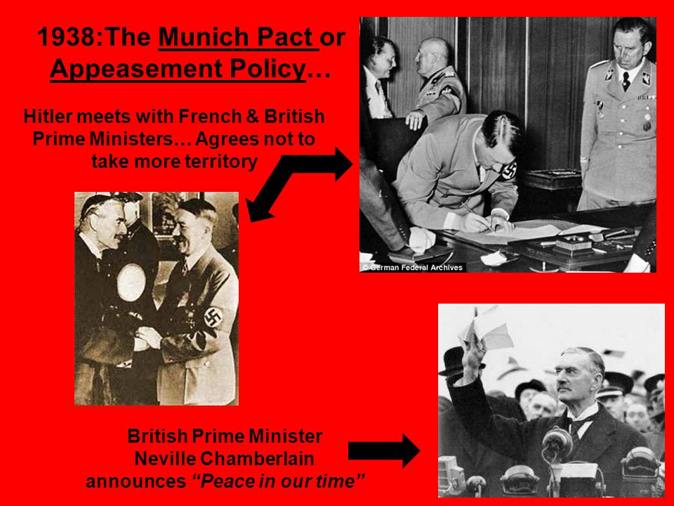 1938:The Munich Pact or Appeasement Policy… Hitler meets with French & British Prime Ministers… Agrees not to take more territory British Prime Minister Neville Chamberlain announces Peace in our time