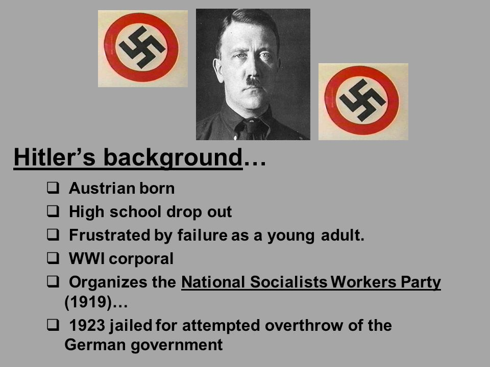 Hitler's background…  Austrian born  High school drop out  Frustrated by failure as a young adult.
