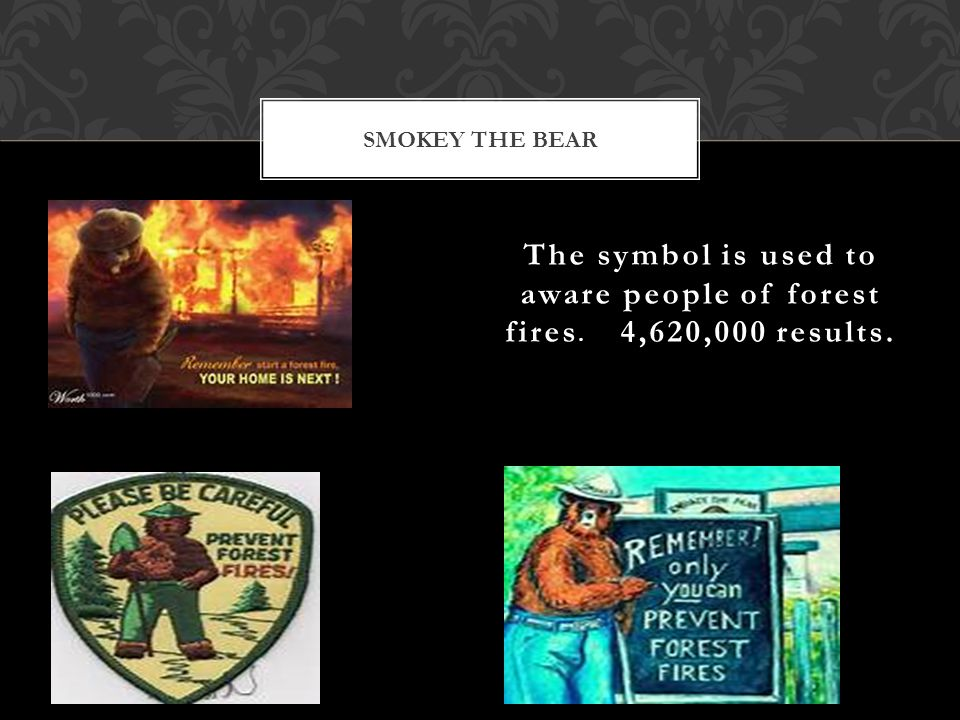 The symbol is used to aware people of forest fires. 4,620,000 results. SMOKEY THE BEAR