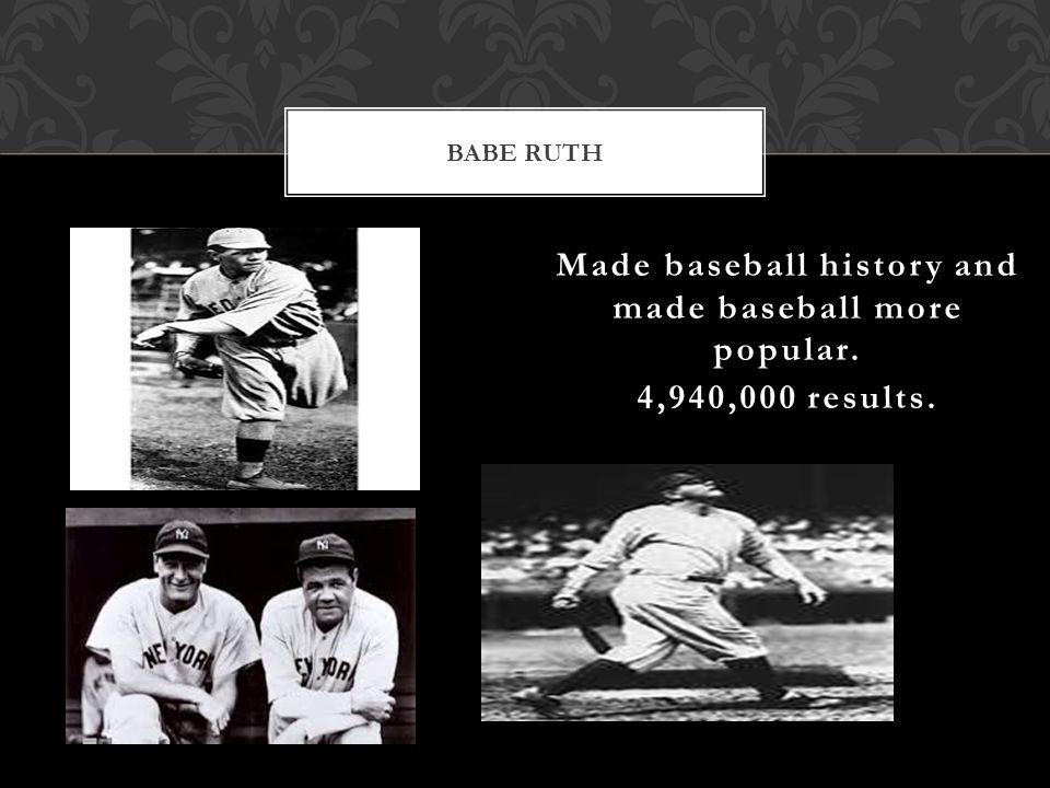 Made baseball history and made baseball more popular. 4,940,000 results. BABE RUTH