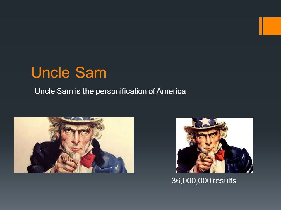 Uncle Sam Uncle Sam is the personification of America 36,000,000 results