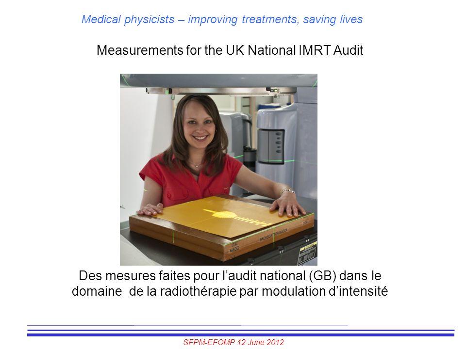 SFPM-EFOMP 12 June 2012 Medical physicists – improving treatments, saving lives Measurements for the UK National IMRT Audit Des mesures faites pour l'