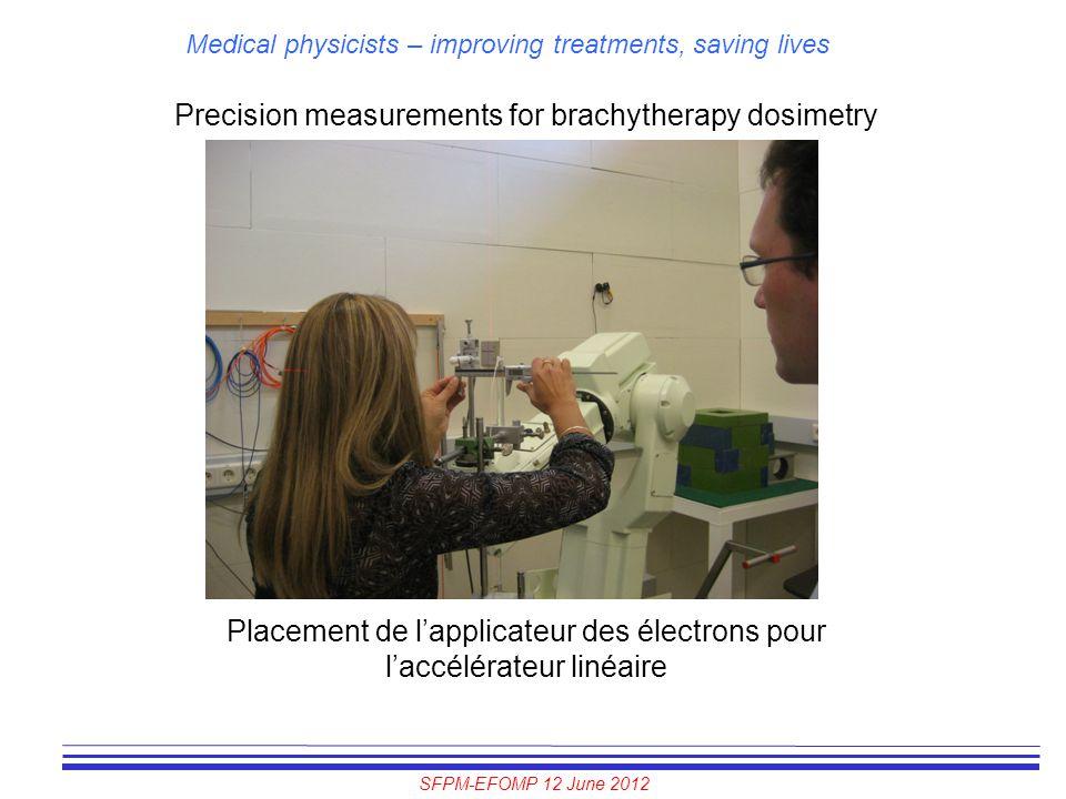 SFPM-EFOMP 12 June 2012 Medical physicists – improving treatments, saving lives Precision measurements for brachytherapy dosimetry Placement de l'appl