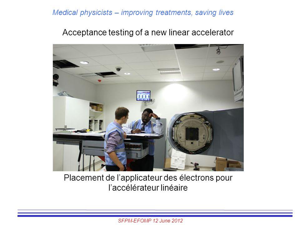 SFPM-EFOMP 12 June 2012 Medical physicists – improving treatments, saving lives Acceptance testing of a new linear accelerator Placement de l'applicat